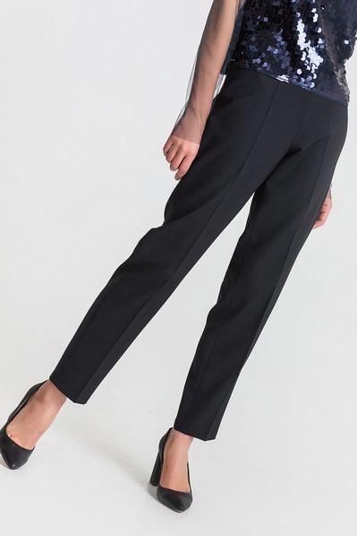 Женские брюки черные без пояса из костюмной ткани