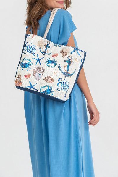 Пляжная сумка в пайетках с морским принтом