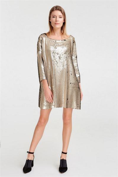 Платье оверсайз из золото-черных пайеток