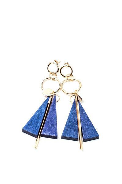 Серьги с деревянной подвеской синий треугольник