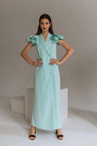 Вечернее макси платье-жакет с воланами мятного цвета