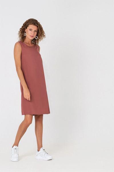 Штапельное платье майка темно-фрезовое
