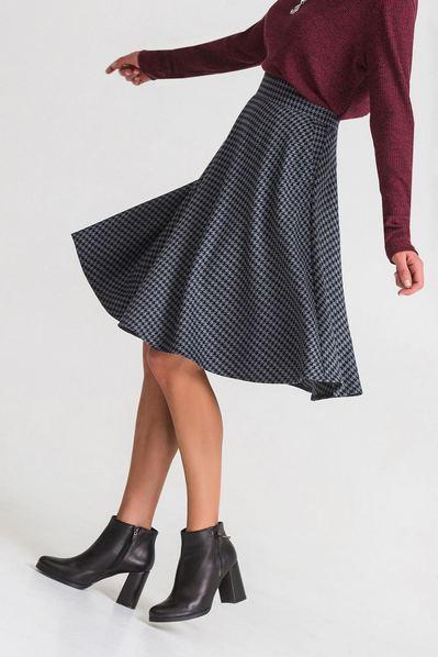 Графитовая юбка с принтом гусиная лапка