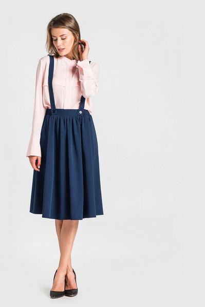 Темно-синяя юбка с бретелями из костюмной ткани