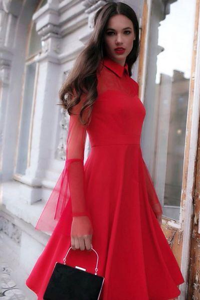 Красное платье до колен с воротником и рукавами из сетки