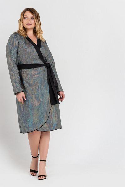 Черное платье с запахом в голограммные пайетки большой размер