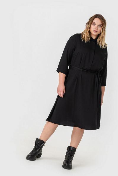 Черное платье-рубашка штапельное с юбкой-трапецией большой размер