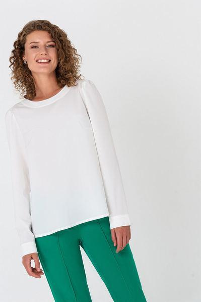 Прямая блузка с завязкой на спине молочная