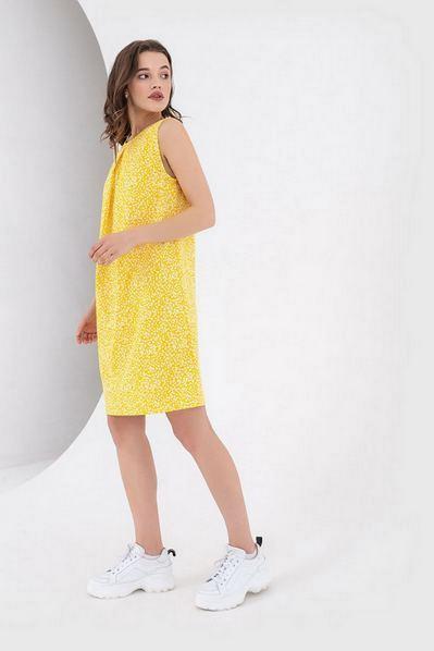 Желтое платье из льна принт веточки