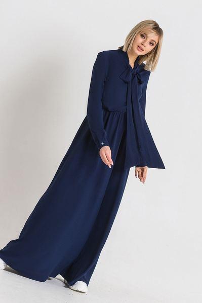 Темно-синее длинное платье с завязкой