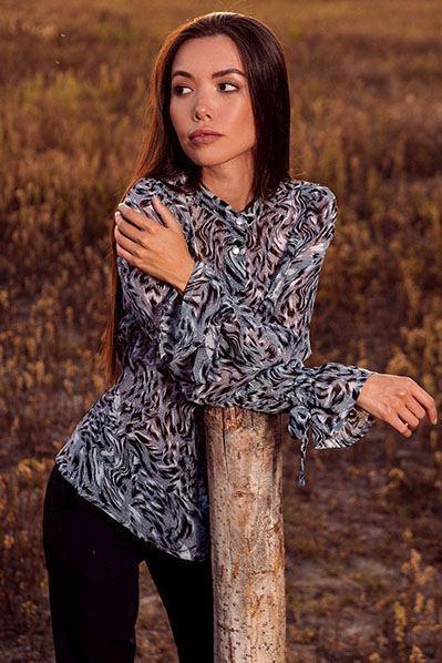Леопардовая блузка с завязками из креп-шифона графитовая