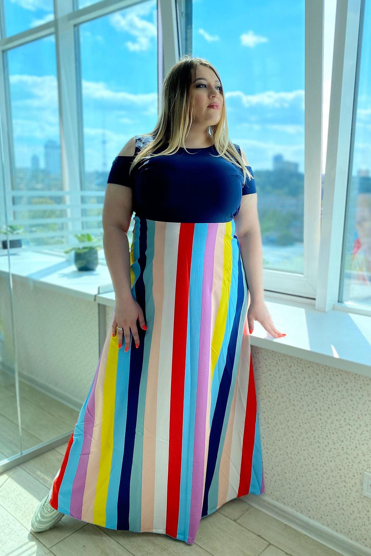 Длинное разноцветное платье в полоску большой размер