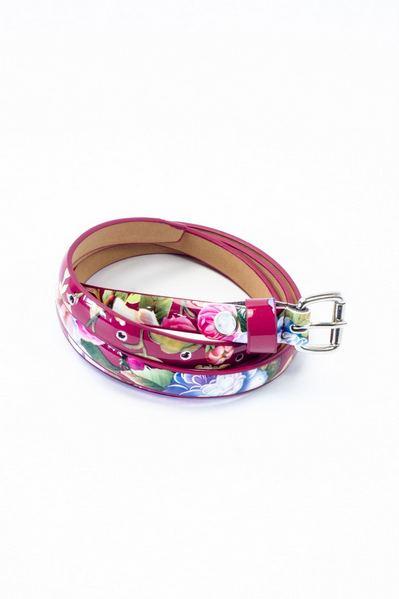 Ремень тонкий лакированный принт цветы на розовом