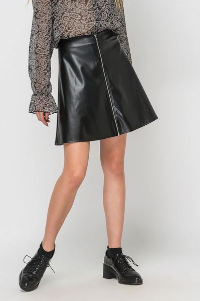 Черная юбка мини с молнией спереди из экокожи