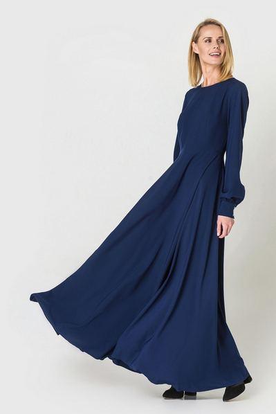 Длинное платье полусолнце темно-синее