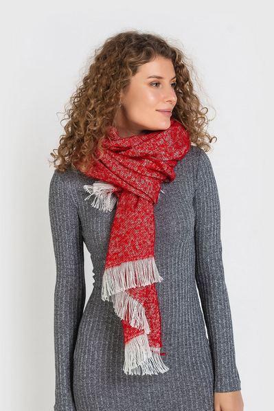 Теплый шарф красный меланж