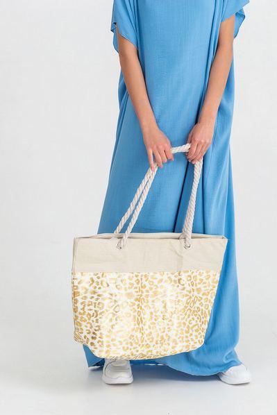 Пляжная сумка золотистый леопард
