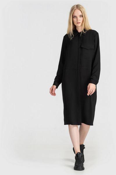 Черное платье-рубашка с карманами из плотного штапеля