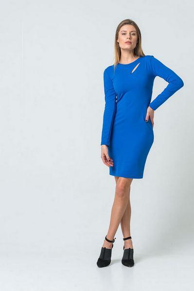Платье до колен с разрезом синий лазурит