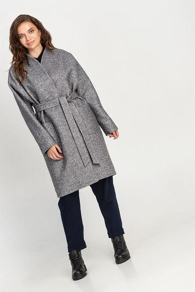 Светло-графитовое пальто на запах с поясом большой размер