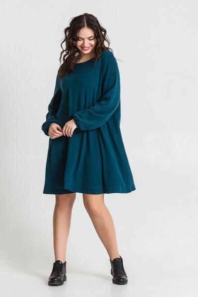 Трикотажное платье из ангоры темно-бирюзовое большой размер
