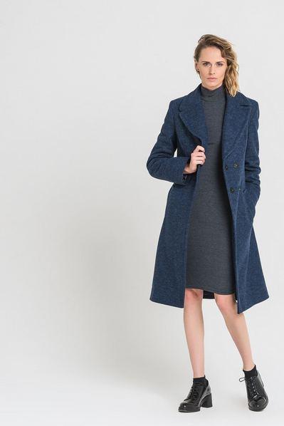 Зимнее пальто шинель синее