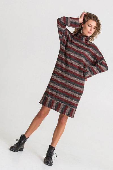 Трикотажное платье в полоску песочно-красно-черное