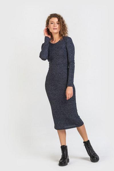 Темно-синее платье-футляр с люрексом