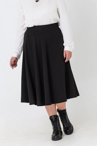 Черная юбка миди полусолнце большой размер