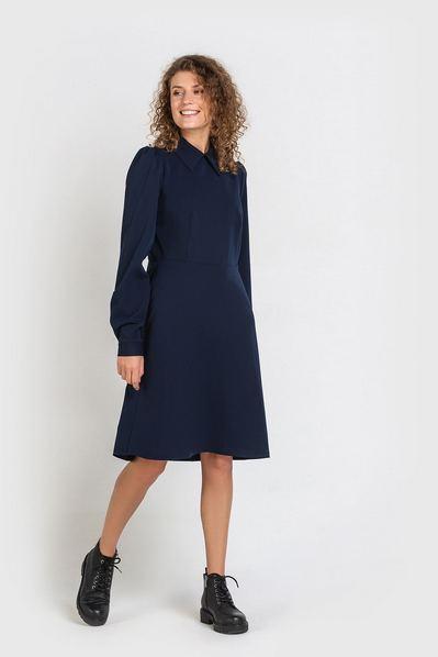 Синее платье до колен из костюмной ткани