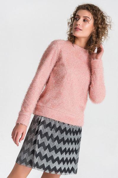 Трикотажный свитер с ворсом пудровый