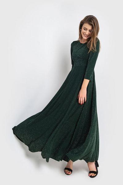 Вечернее платье макси изумрудное с люрексом
