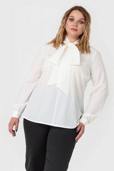 Женская блузка с завязками молочная большой размер