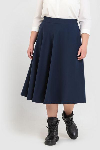 Темно-синяя юбка полусолнце большой размер
