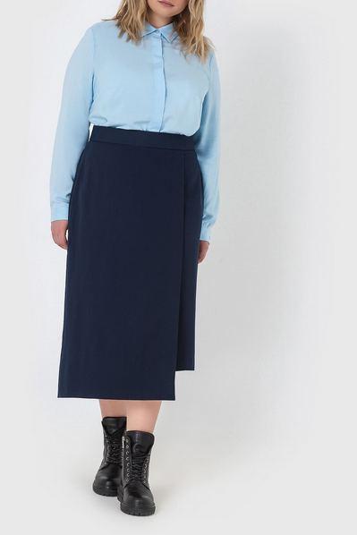 Асимметричная юбка синяя из костюмной ткани большой размер