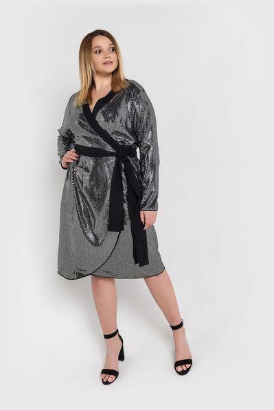 Серебряное платье с запахом в пайетки большой размер