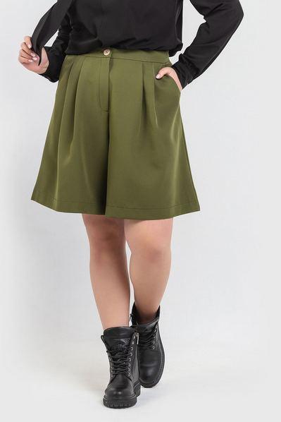 Женские шорты бермуды оливковые большой размер
