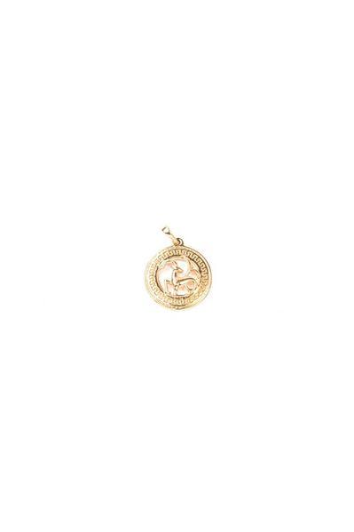 Кулон со знаком зодиака Лев золотистый