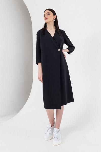 Черное платье с запахом деми