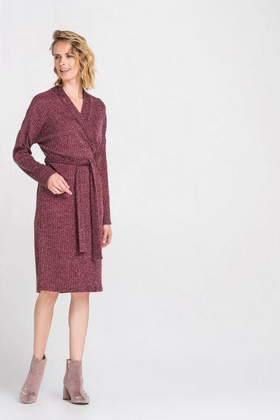 Трикотажное платье с запахом деми ягодное