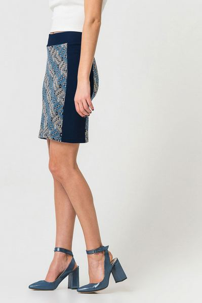 Юбка до колен в прямоугольники со вставками ниагаро-серая