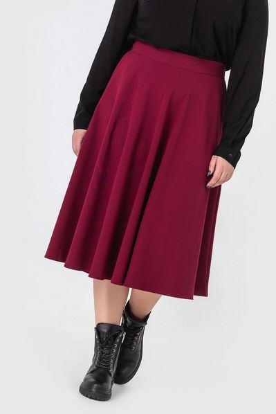 Миди юбка полусолнце ягодная большой размер
