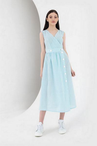 Платье без рукавов с пышной юбкой в молочно-бирюзовую полоску