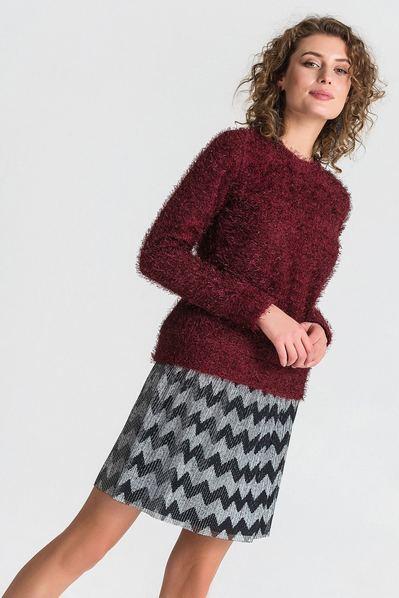Трикотажный свитер с ворсом ягодный