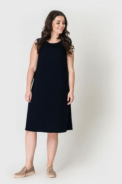 Летнее платье майка черное из штапеля большой размер