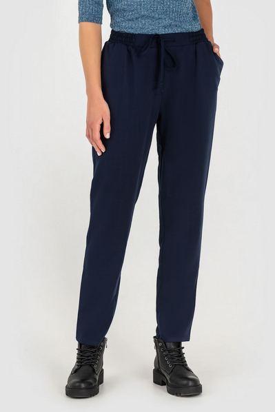 Синие брюки прямые с кулиской