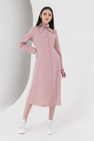 Миди платье из костюмной ткани фрезовое