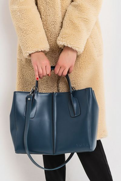 Кожаная сумка сине-серая