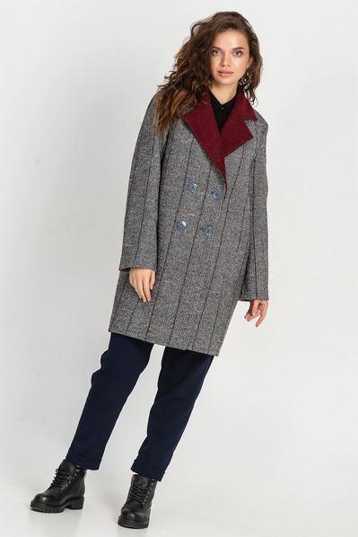 Пальто с бордовым воротником в клетку на графитовом большой размер