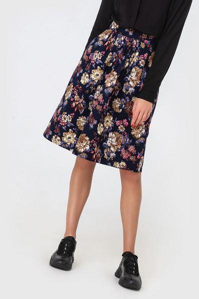 Темно-синяя юбка из хлопка принт розы